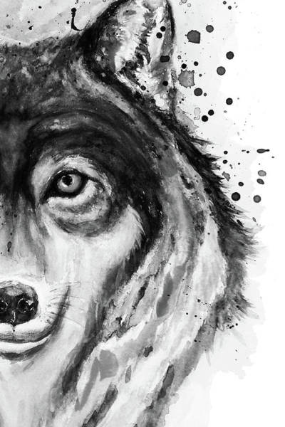 Wall Art - Painting - Half-faced Wolf Close-up by Marian Voicu