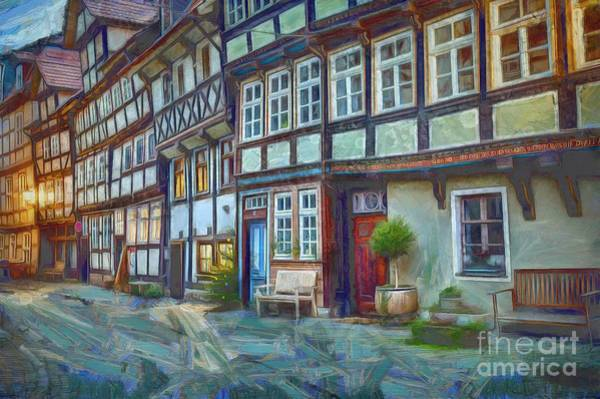 Half Timbered Painting - Half-timbered Medieval Houses by Eva Lechner