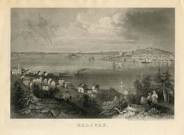 Old Town Digital Art - Halifax 1850 To 1899 Birds Eye View by Historic Map Works Llc