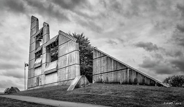 Digital Art - Halifax Explosion Memorial Bell Tower Bw by Ken Morris