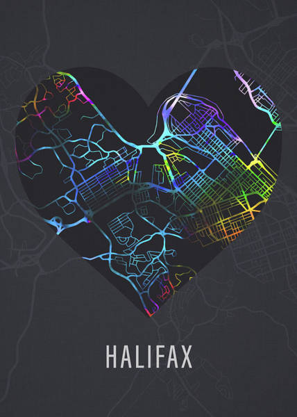 Halifax Wall Art - Mixed Media - Halifax Nova Scotia Canada City Heart Street Map Love Dark Mode by Design Turnpike