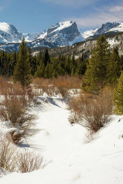 Photograph - Hallett Peak - Winter by Aaron Spong