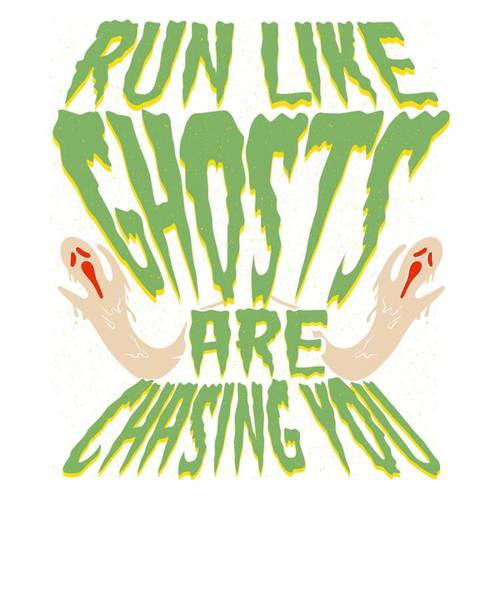 Trick Or Treat Drawing - Halloweem Fun Run Like Ghosts Are Chasing You by Kanig Designs