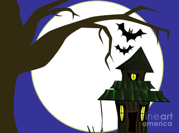 Dingy Digital Art - Halloween Cottage by Bigalbaloo Stock