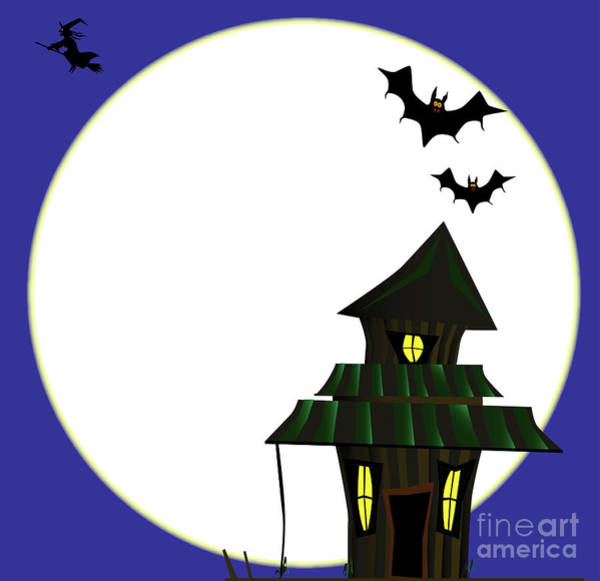 Dingy Digital Art - Halloween Cottoge by Bigalbaloo Stock