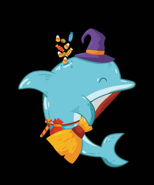 Trick Or Treat Drawing - Halloween Dolphin Witch With Broom Funny by Jk