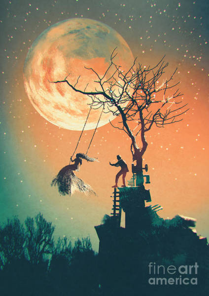 Scary Digital Art - Halloween Night Background With Man by Tithi Luadthong