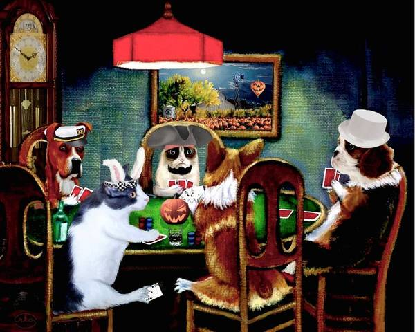 Were Wolf Wall Art - Painting - Halloween Poker by Ron Chambers