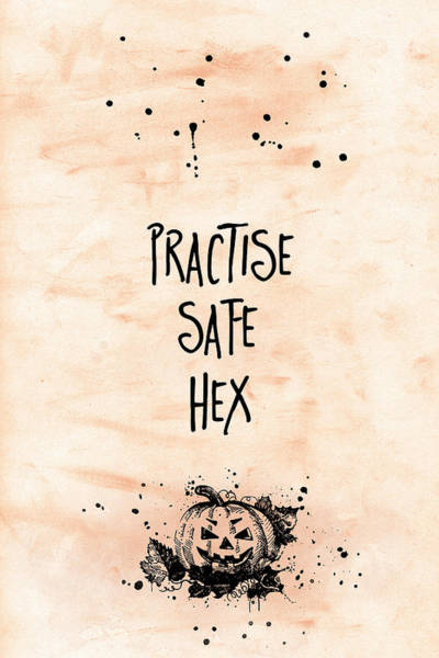 Pumpkin Digital Art - Halloween Practise Safe Hex by Melanie Viola