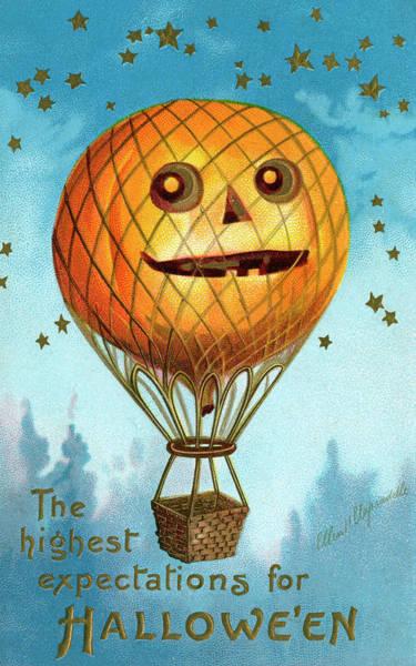 Vertical Digital Art - Halloween Pumpkin Balloon by Graphicaartis