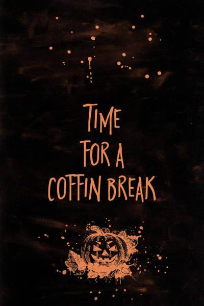 Pumpkin Digital Art - Halloween Time For A Coffin Break by Melanie Viola
