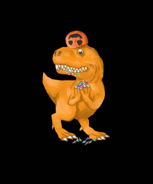 Trick Or Treat Drawing - Halloween Trex Pumpkin Trick Or Treating Candies by Jk