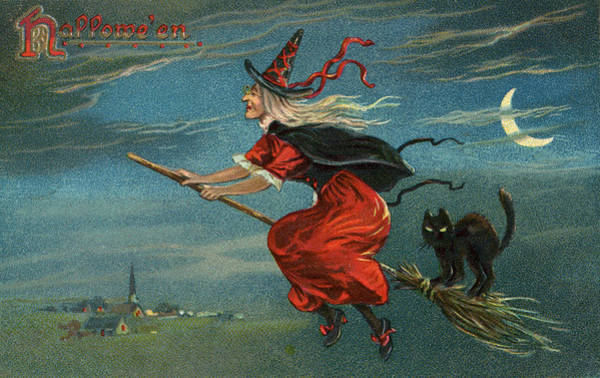 Spooky Digital Art - Halloween Witch Riding Broom by Graphicaartis
