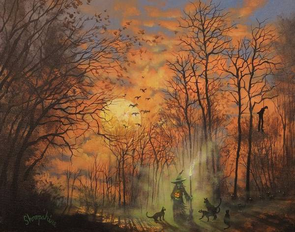Wall Art - Painting - Halloween Witch by Tom Shropshire