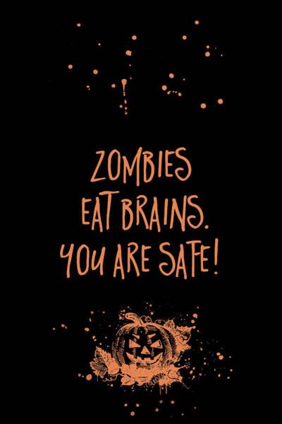 Pumpkin Digital Art - Halloween Zombies Eat Brain - You Are Safe by Melanie Viola