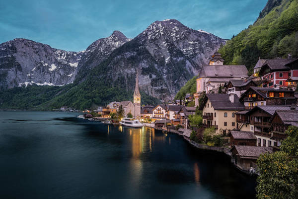 Photograph - Hallstatt Village At Dusk, Austria by Milan Ljubisavljevic