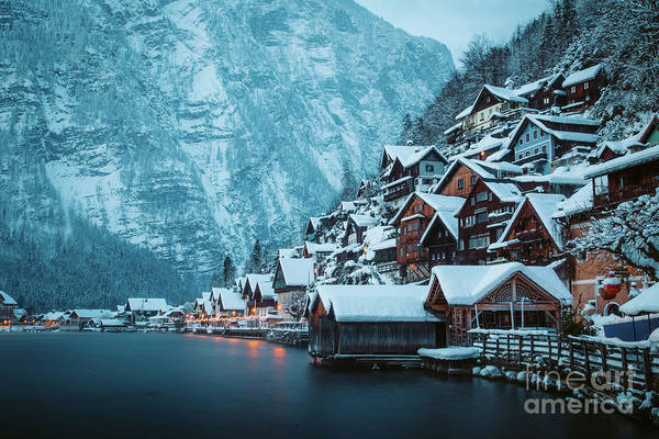 Wall Art - Photograph - Hallstatt Winter Twilight Beauty by JR Photography