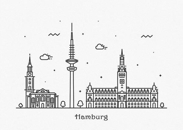 Landmark Center Drawing - Hamburg Cityscape Travel Poster by Inspirowl Design