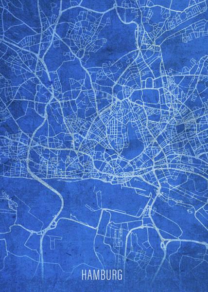 Wall Art - Mixed Media - Hamburg Germany City Street Map Blueprints by Design Turnpike