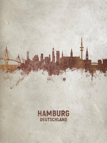 Wall Art - Digital Art - Hamburg Germany Rust Skyline by Michael Tompsett