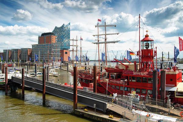 Wall Art - Photograph - Hamburg Harbor With Ship And Elbphilharmonie by Matthias Hauser