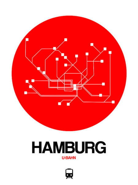 Wall Art - Digital Art - Hamburg Red Subway Map by Naxart Studio