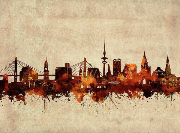 Wall Art - Digital Art - Hamburg Skyline Sepia by Bekim M