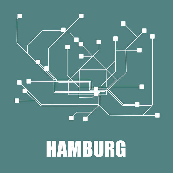 Wall Art - Digital Art - Hamburg Teal Subway Map by Naxart Studio