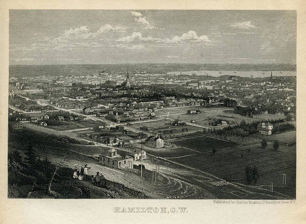 Old Town Digital Art - Hamilton 1850 To 1899 Birds Eye View by Historic Map Works Llc