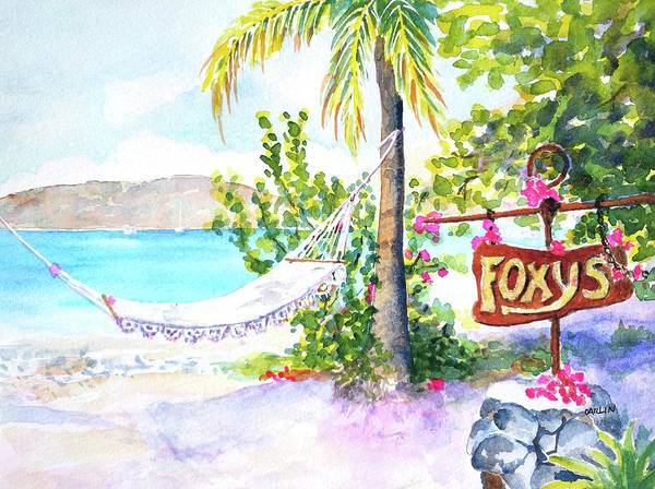 Painting - Hammock On Beach At Foxy's by Carlin Blahnik CarlinArtWatercolor