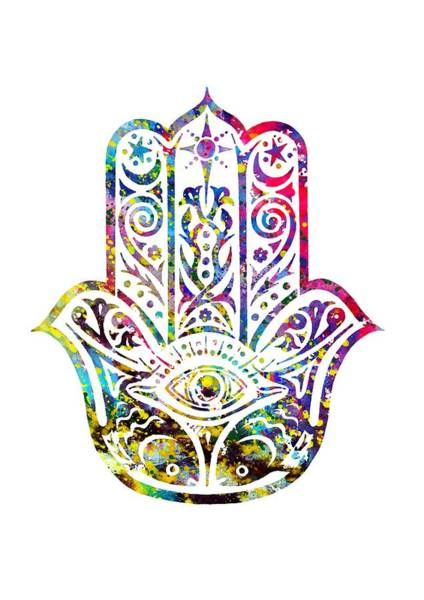 Wall Art - Digital Art - Hamsa Hand-colorful by Erzebet S
