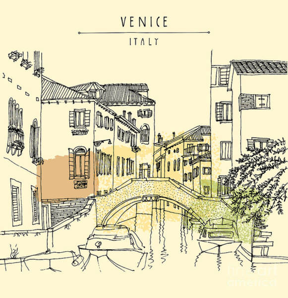 Wall Art - Digital Art - Hand Drawing Of Venice, Italy, With A by Babayuka