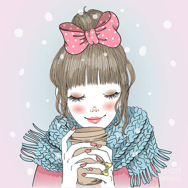 Wall Art - Digital Art - Hand Drawn Beautiful Cute Girl With by Oksana Lysak