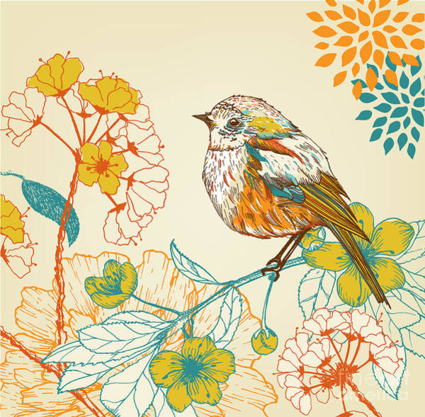 Wall Art - Digital Art - Hand Drawn Bird In The Garden by Ri
