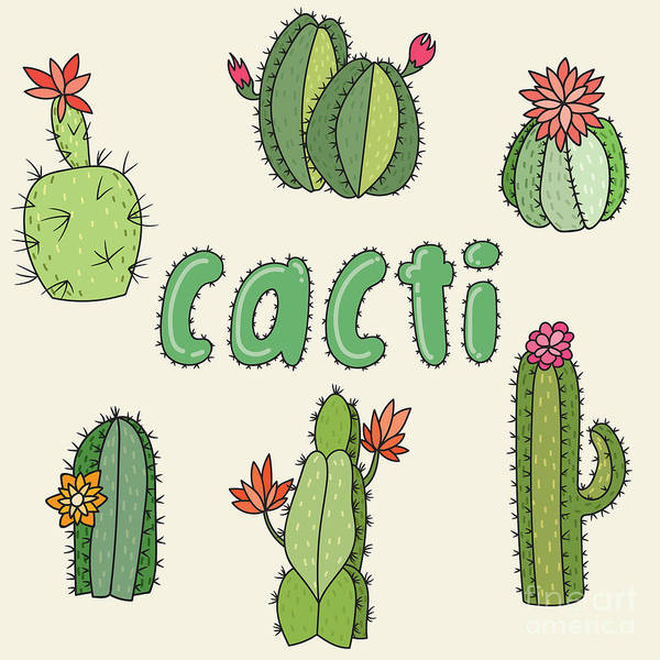 Wall Art - Digital Art - Hand Drawn Cactus Icons. Vector by Maria Sem