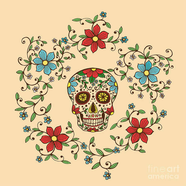 Wall Art - Digital Art - Hand Drawn Day Of The Dead Colorful by A bachelorette