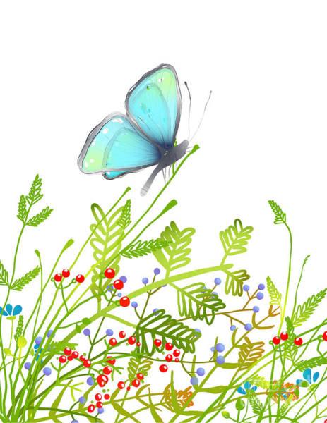 Color Field Wall Art - Digital Art - Hand Drawn Delicate Blue Butterfly by Popmarleo