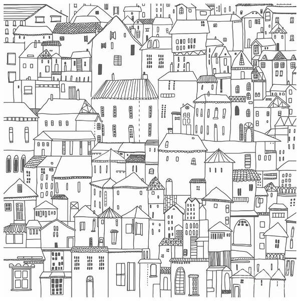 Landmark Wall Art - Digital Art - Hand Drawn Houses Black And White by Koshko