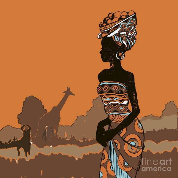 African American Woman Wall Art - Digital Art - Hand Drawn Illustration  Beautiful by Ivanchina Anna