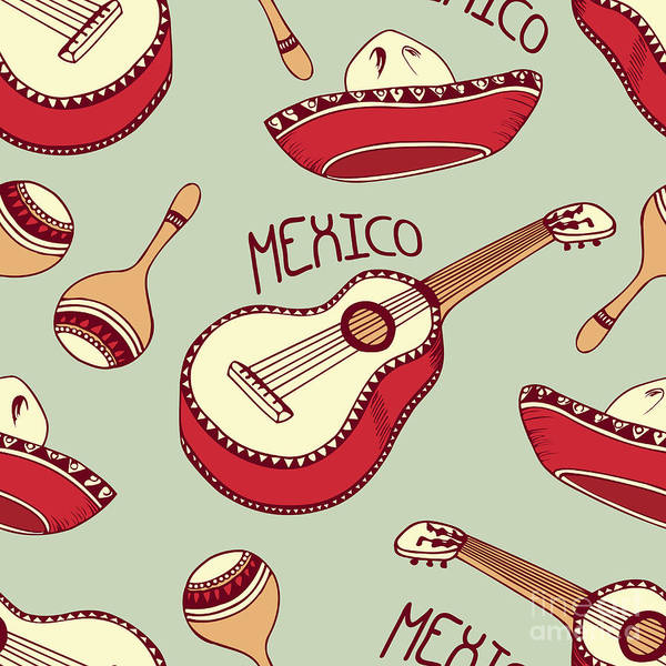 Mexico Wall Art - Digital Art - Hand Drawn Mexican Seamless Pattern by Zhemchuzhina