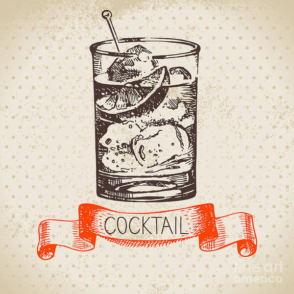 Wall Art - Digital Art - Hand Drawn Sketch Cocktail Vintage by Pimlena