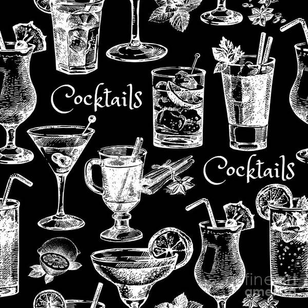 Wall Art - Digital Art - Hand Drawn Sketch Cocktails Seamless by Pimlena