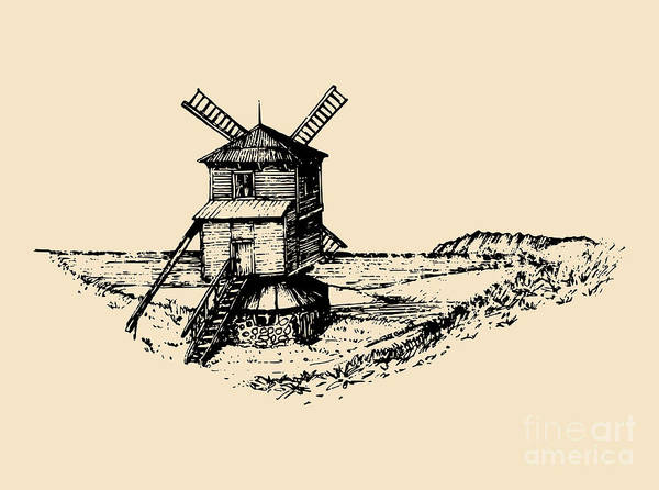 Wall Art - Digital Art - Hand Drawn Sketch Of Rustic Windmill At by Vlada Young