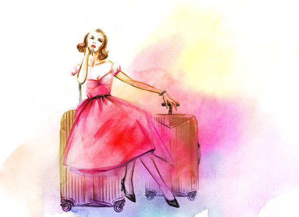 Airport Wall Art - Digital Art - Hand Drawn Traveling Woman With Luggage by Anna Ismagilova