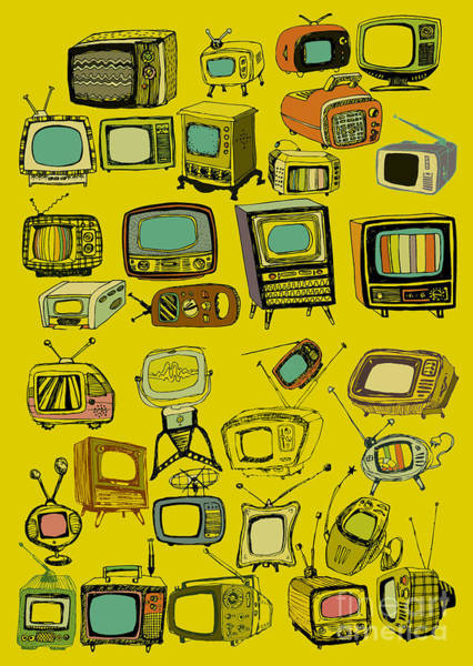 Wall Art - Digital Art - Hand Drawn Vector Retro Tvs by Tom And Kwikki