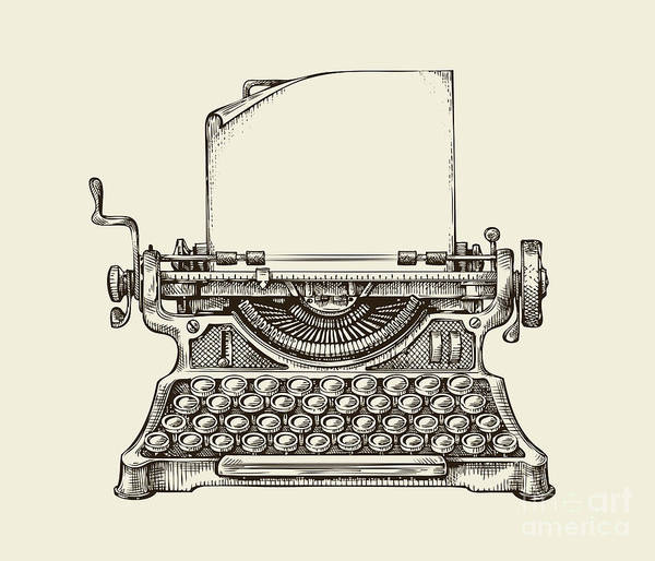 Wall Art - Digital Art - Hand Drawn Vintage Typewriter. Sketch by Ava Bitter