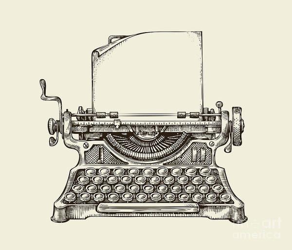 Journalist Digital Art - Hand Drawn Vintage Typewriter. Sketch by Ava Bitter