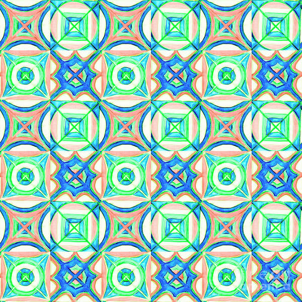 Painting - Hand-drawn Watercolor Seamless Pattern. Blue, Orange, Green. by Irina Dobrotsvet