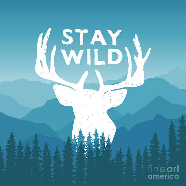 Wall Art - Digital Art - Hand Drawn Wilderness Typography Poster by Igorrita