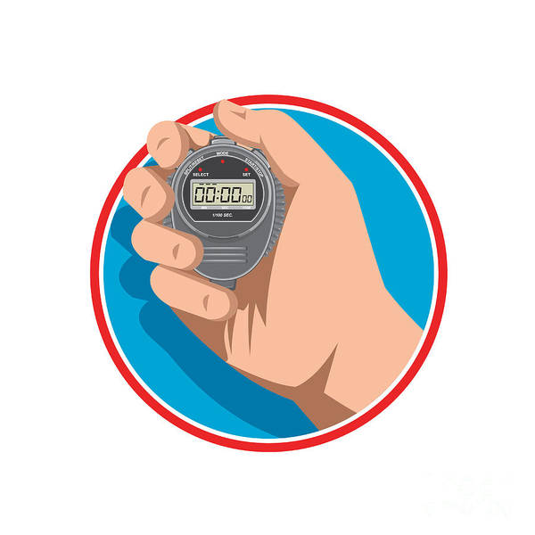 Count Digital Art - Hand Holding Digital Stopwatch Retro Style by Aloysius Patrimonio